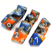 Blue & Orange Gemini D10 Ten Sided Dice Set